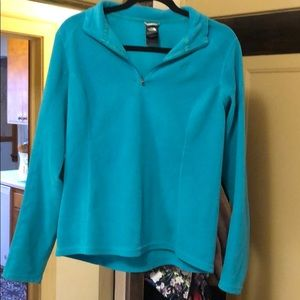 North face fleece turquoise pull over